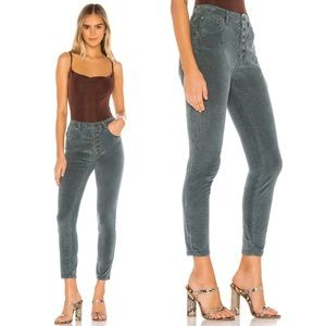 Free People Corduroy Skinny Pants Blue Button Fly